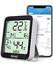 Govee Thermometer Hygrometer, Mini LCD Digitale thermometer Hygrometer Indoor met meldingsalarm, Nauwkeurige hygrometer Temperatuur met APP, gegevensopslag voor thuis Garage Kas Wijnkelder
