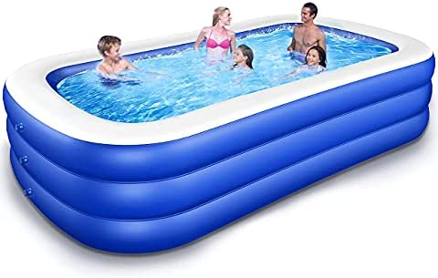 SUPBEC Inflatable Swimming Pool 83″x56″x24″ Family Full-Sized Above Ground Pool Blow Up Pool Series Big Inflatable Pool