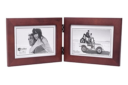 Malden Double Horizontal 4x6 Picture Frame - Wide Real Wood Molding, Real Glass - Dark Walnut ()