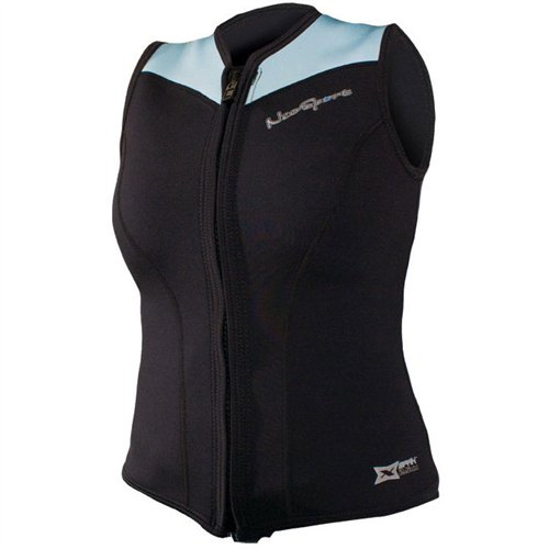 NeoSport Women's 2.5-mm XSPAN Vest (Black with Powder Blue Trim, 8) - Water Sports, Diving & Snorkeling by Neo-Sport
