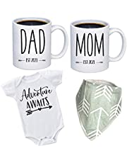 """Pregnancy Gift Est 2021 - New Mom and Dad Est 2021 11 oz Mug Set with""""Let Adventurer Begin"""" Romper (0-3 Months) - Top Mom and Dad Gift Set for New and Expecting Parents to Be - Baby Shower"""
