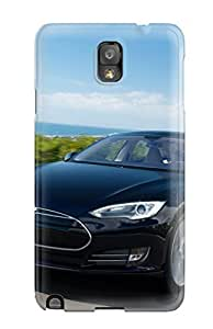 Cynthaskey Scratch-free Phone For Case For Galaxy Note 3- Retail Packaging - Tesla Model S 38
