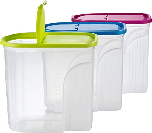 Haushaltsdose Müsli Cornflakes Schüttdose große Vorratsdose 5,7 Liter 3er Set grün/blau/pink