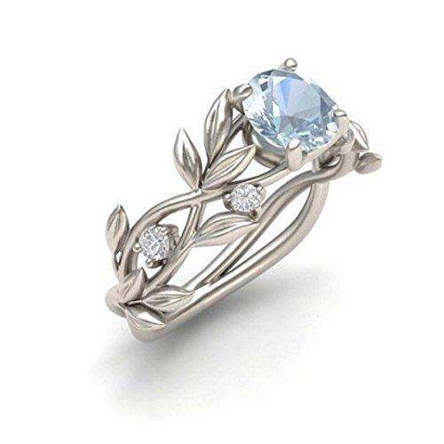 Leaf Design Diamond (Challyhope Women's Olive Vine Leaf Rings Silver Transparent Fake Diamond Wedding Promise Rings (Silver, Size 6))
