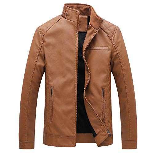 Allywit Men's Vintage Stand Collar Leather Jacket Motorcycle PU Jacket Outerwear with Fleece Lined by Allywit (Image #2)