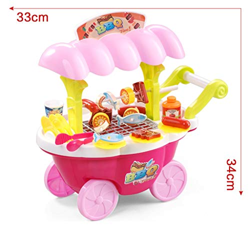 BJLWTQ Children's Simulation Supermarket Shopping Cart Trolley Barbecue Machine Girl Child Pretend Play Toy, Blue and Pink (Color : Pink) by BJLWTQ Toddlers kids toys (Image #6)