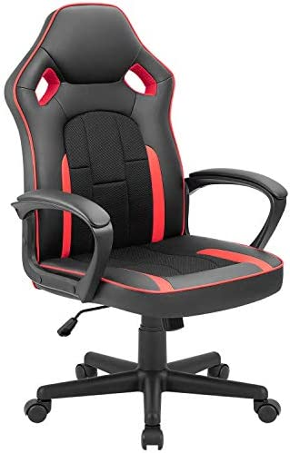 Tuoze Gaming Chair Office Desk Chair Racing Style High Back Leather Chair Adjustable Swivel Executive Computer Chair with Lumbar Support Red