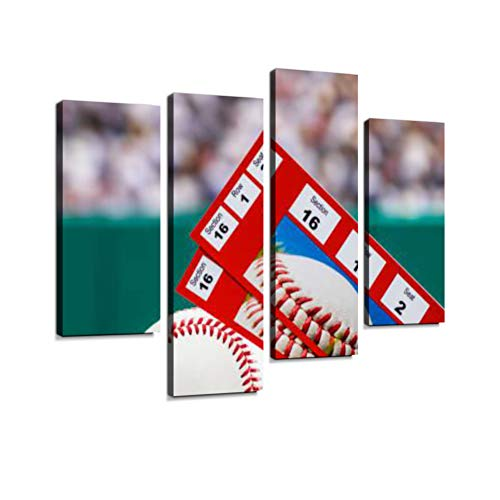 - A Pair of Ticket stubs Sitting on a Baseball in The Grass of a Stadium Canvas Wall Art Hanging Paintings Modern Artwork Abstract Picture Prints Home Decoration Gift Unique Designed Framed 4 Panel