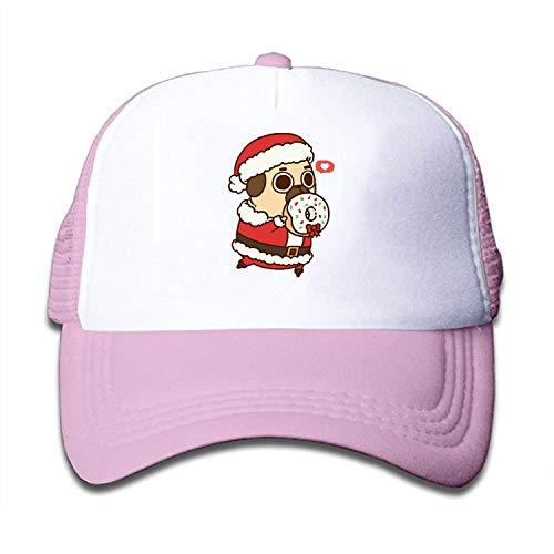 PHOSUP Funny Santa Claus Pug Mesh Hat Baseball Cap Adjustable Hip Hop Trucker Plain Flat Hats for Toddler Boys -