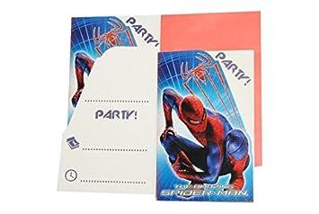 Set Einladungskarten Spiderman + Umschlag Party Einladung Karte Spider Man  Spinne Umschläge