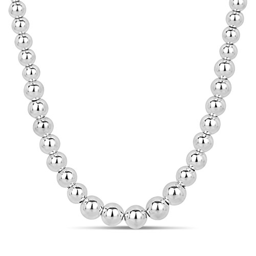 (Sterling Silver Graduated Bead Necklace 18