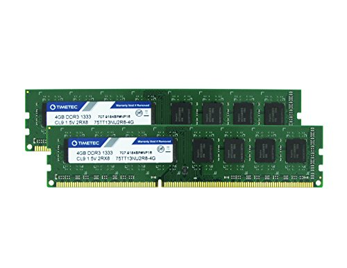 Timetec Hynix IC 8GB Kit (2x4GB) DDR3 1333MHz PC3-10600 Unbuffered Non-ECC 1.5V CL9 1Rx8 Single Rank 240 Pin UDIMM Desktop Memory Ram Module Upgrade (High Density 8GB Kit - Server Motherboard Tyan
