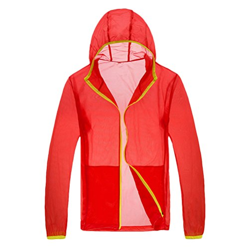 Zhhlaixing Unisex Lightweight Waterproof Rainproof Anti-UV Jacket Orange