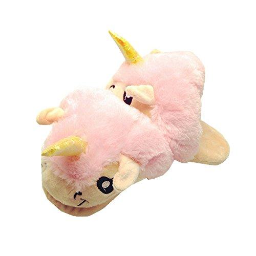 Rainbow Fox Einhorn Hausschuhe Plüsch Tier Hausschuhe Erwachsene Unisex, Rutschfest, Innen Hausschuhe, Komisch Neuheit Hausschuhe (lila) Beige