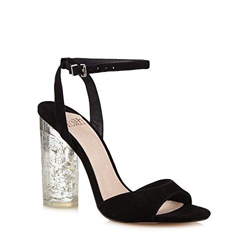 Sandals Womens High Strap Debenhams Faith Suedette Ankle 'Doris' Block Heel Black qTBpZwBv