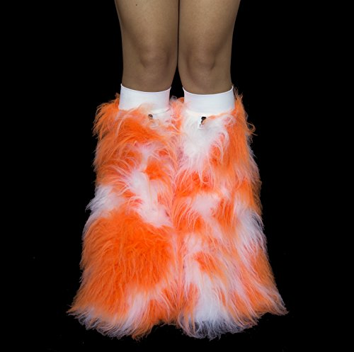 Psy Shoes Costume (Sorbet Camo Neon Orange and White Rave Furry Legwarmers Fluffies)