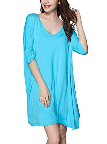Short Sleeve Nightgown Sleep Dress for Women Sleepwear Water Blue (Plus Sized Sleepwear)