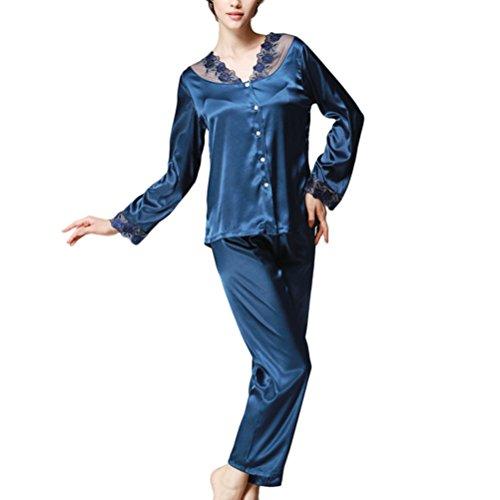 Zhhlinyuan Ladies Lace Satin Pyjamas Womens Long Sleeve Nightwear Silk YT16QTZ193 Navy blue