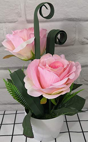 Artificial Roses Flowers with Pot Decor 2 Heads for Home Arrangement Wedding Office Windowsill Party Garden Coffee Shop Decoration (Pink)