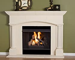 Kington Thin Cast Stone Adustable Fireplace Mantel Kit - Complete Kit includes hearth and adjustable interior Filler Panels from Premier Cast Works