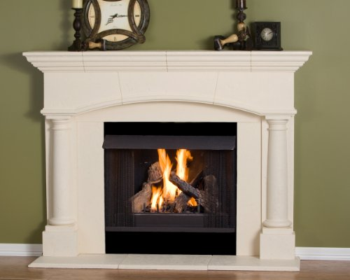 Kington Thin Cast Stone Adustable Fireplace Mantel Kit - Complete Kit includes hearth and adjustable interior Filler Panels