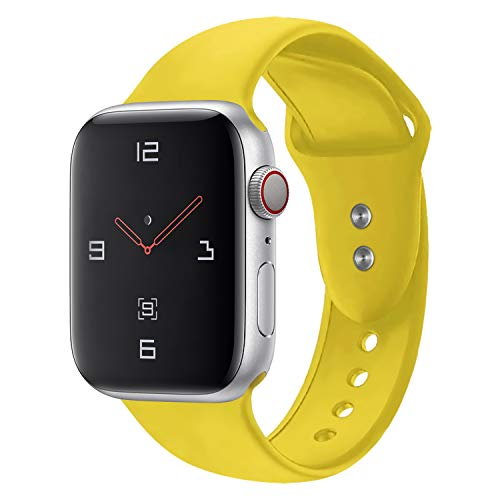 Sport Band Compatible with Apple Watch 38mm 40mm 42mm 44mm,Soft Silicone Strap Replacement Wristbands Compatible with Apple Watch Sport Series 4 Series 3 Series 2 Series 1 Nike+ Sports and Edition