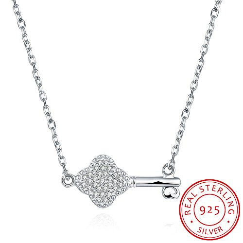 IVYRISE Sweet Heart Key Eternal Love Luxurious Jowelry Sterling Silver Pendent Necklace for ()