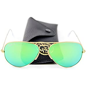 Ray-Ban RB3025 Unisex Aviator Sunglasses Mirrored Polarized (Matte Gold Frame/Green Mirrored Polarized Lens 112/P9, 58)