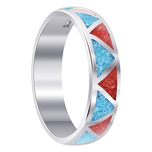 (Gem Avenue 925 Sterling Silver Southwestern Style Turquoise with Coral Gemstone Band Ring Size 11)