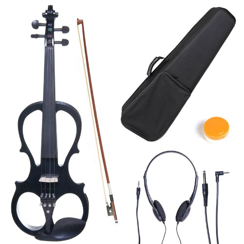 Cecilio L3/4CEVN-L1BK Left-Handed Solid Wood Black Metallic Electric Violin with Ebony Fittings in Style 1 by Cecilio