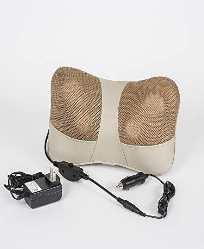 Prospera Kneading Massage Cushion, 3D rotating nodes with deep-kneading shiatsu massage and heat,a power adapter and a car adapter included,helps to reduce stress and relieve muscle tightness,3.5 lbs