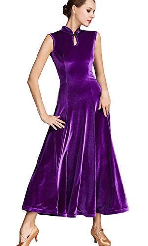 Tango CHAGME Purple Dress Skirts Velvet Dress Skirts Cheongsam Latin Waltz Ballroom IUTUwx