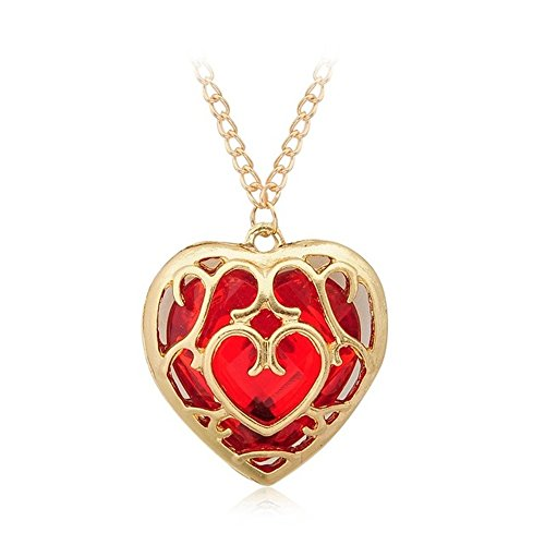 Hollow Out The Legend of Zelda Red Heart Container Necklace Gold Chain Couples Lovers Valentine