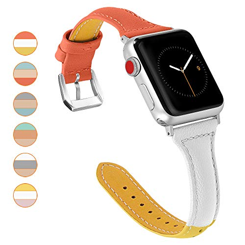 oceBeec Leather Bands Compatible with Apple Watch Band 38mm 40mm 42mm 44mm, 3 Colors Combination Supple Strap Replacement Wristband for Iwatch Series 4 3 2 1 (Orange/White/Yellow, - Watch Combination Sports