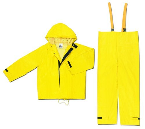 (MCR Safety 3902XL Hydroblast PVC/Nylon/Scrim 2-Piece Rainsuit with Attached Hood, Yellow, X-Large by MCR Safety)