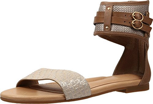 UGG Women's Savana Metallic Basket Soft Gold Leather Sandal 8.5 B (M) (Leather Soft Gold Footwear)