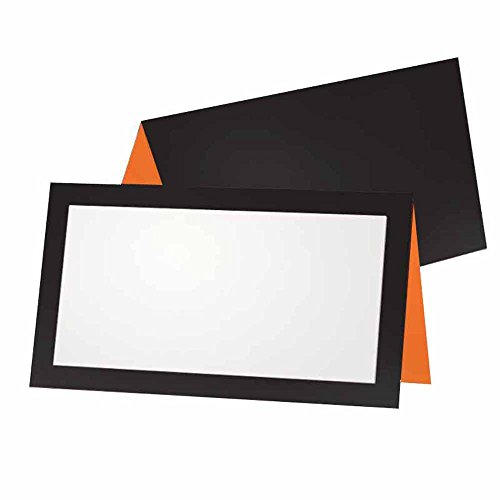 (Black and Orange Place Cards - Tent Style - 10 Pack - Stationery Pary Supplies - Table Name Seating Placement - Gift Tag Food Label - Any)