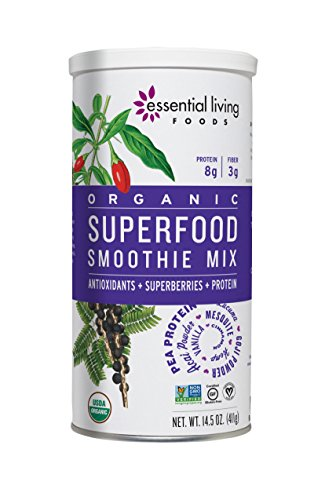 (Essential Living Foods Organic Superfood Smoothie Mix, With Mesquite, Lucuma, Pea and Hemp Protein, Acai and Goji Berry Powder, Vegan, Non-GMO, Gluten Free, Kosher, 14.5 Ounce Tin)