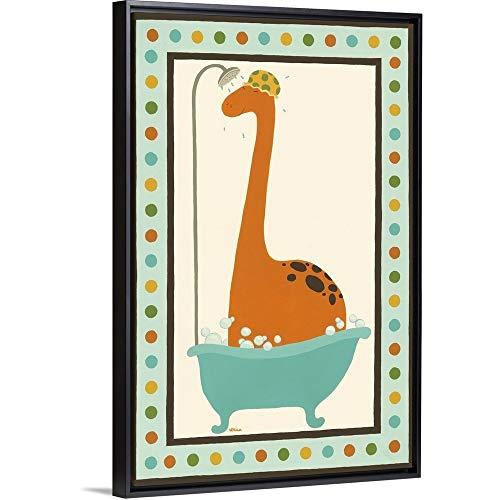 Frame Dub Child Dub (June Vess Floating Frame Premium Canvas with Black Frame Wall Art Print Entitled Rub-A-Dub Dino I 20