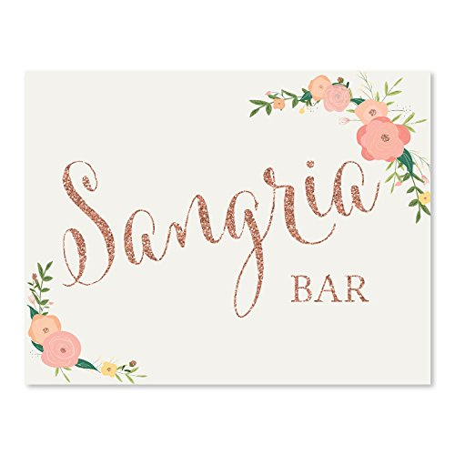 Andaz Press Wedding Party Signs, Faux Rose Gold Glitter with Florals, 8.5x11-inch, Sangria Bar Sign, 1-Pack, Colored -