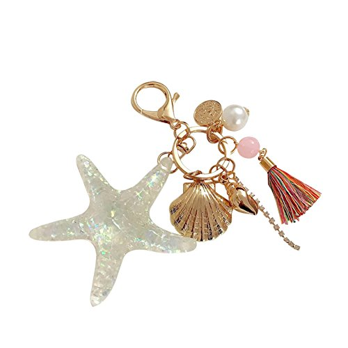 Starfish Chain Collection Key - Nikgic Flickering Starfish Shells Pearls Fringes Keychains Ladies Handbags Pendants