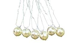 Shop Ginger Wedding Hair Pins Pearls Crystal Rhinestones Accent Wedding Bridal Veil Accessory (Ivory)