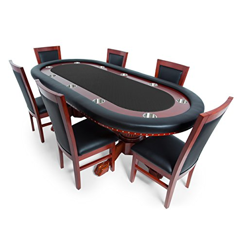 BBO Poker Rockwell Poker Table for 10 Players with Black Speed Cloth Playing Surface, 94 x 44-Inch Oval, Includes 6 Dining ()