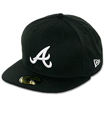 New Era 59Fifty Atlanta Braves (BK-WH) Fitted Hat (Black/White) Men's MLB Cap