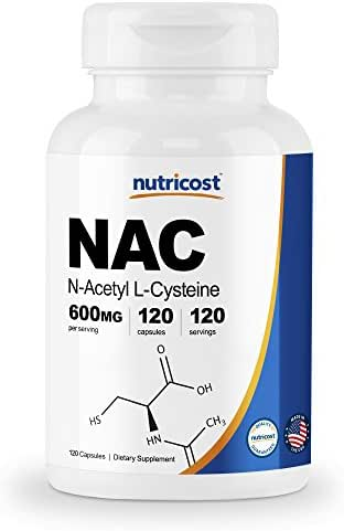 Nutricost N-Acetyl L-Cysteine (NAC) 600mg, 120 Veggie Capsules - Non-GMO, Gluten Free, Vegetable Caps