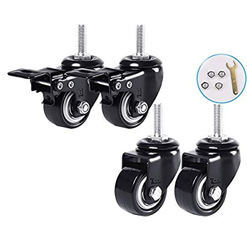 Furniture Castors Wheels Furniture with Brake Silent Resistant Small Pulley Tables Wheels Industrial Plates Transport 2 Directional Wheels 2 Brakes (4 Pieces,2 inches) from LHF123
