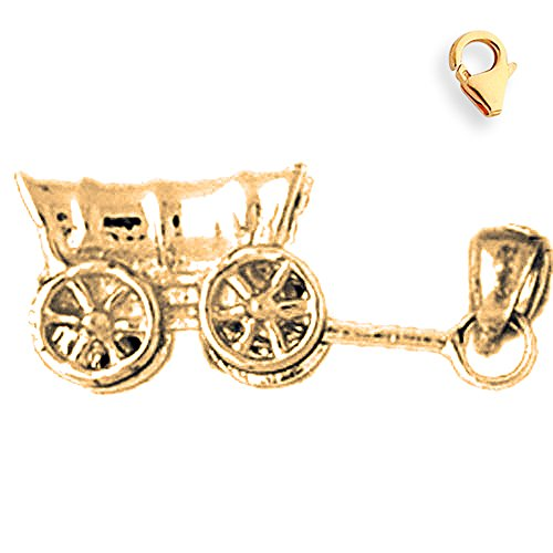 Jewels Obsession Carriage Charm | 14K Yellow Gold Carriage Charm Pendant - 9mm