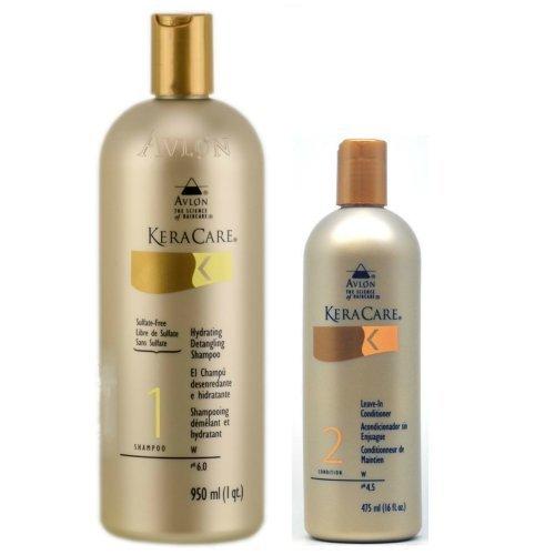 Avlon Keracare Leave in Conditioner 16oz + Keracare Hydrating Detangling Shampoo - Sulfate Free 32oz