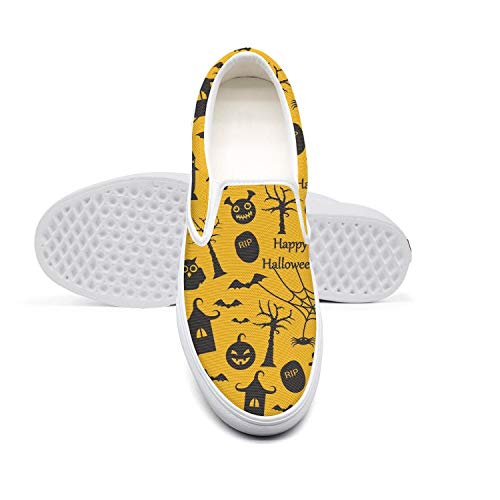 (Man's Happy Halloween cat owl Ghost Yellow Casual Sneaker Fashion Canvas Hunting Rubber Sole Skater)