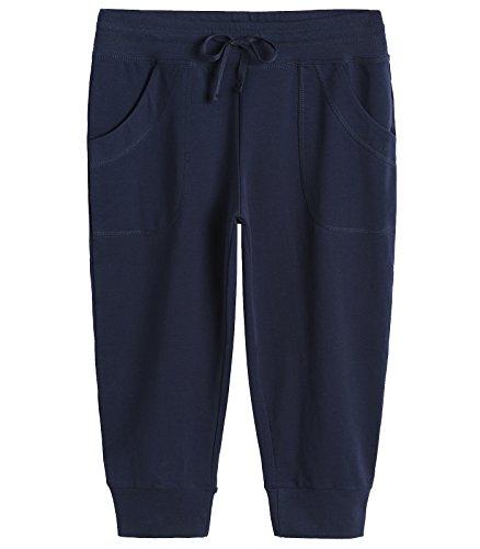 Weintee Women's Capri Joggers Jersey Sweatpants M Navy